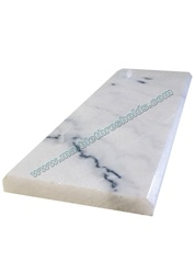 "White Gray Polished Marble Threshold 6""x36""x9/16"" - Double Standard Bevel"